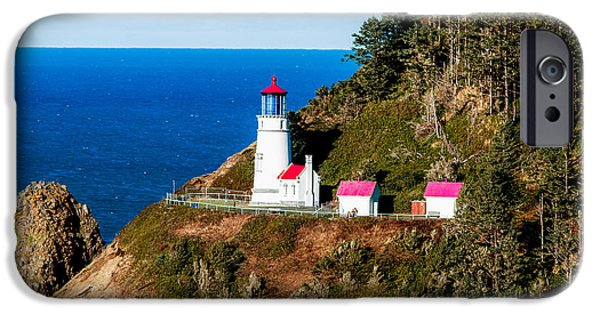 Lighthouse Tapestries - Textiles iPhone Cases - Haceta Head iPhone Case by Dennis Bucklin