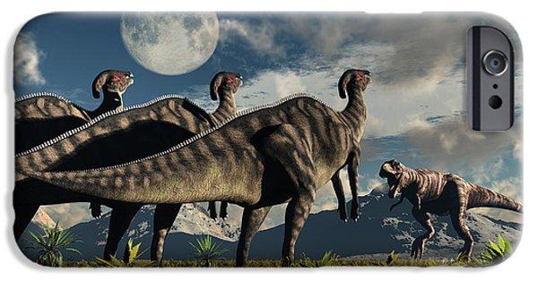 Four Animal Faces iPhone Cases - Hadrosaurid Duckbill Dinosaurs Use iPhone Case by Mark Stevenson
