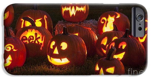 Jack O Lantern iPhone Cases - Halloween Pumpkins iPhone Case by Juli Scalzi