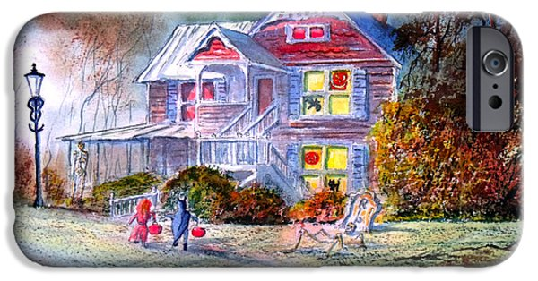 Haunted House iPhone Cases - Halloween Trick Or Treat iPhone Case by Bill Holkham