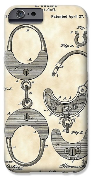 Police iPhone Cases - Handcuffs Patent 1880 - Vintage iPhone Case by Stephen Younts