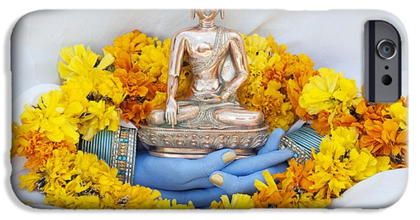 Buddhism iPhone Cases - Hands holding Buddha iPhone Case by Tim Gainey