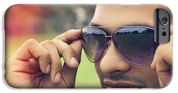 Handsome People iPhone Cases - Handsome man putting on summer eyewear iPhone Case by Ryan Jorgensen