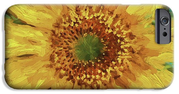 Abstract Sunflower iPhone Cases - Hannahs Sunflower  iPhone Case by Rich Franco