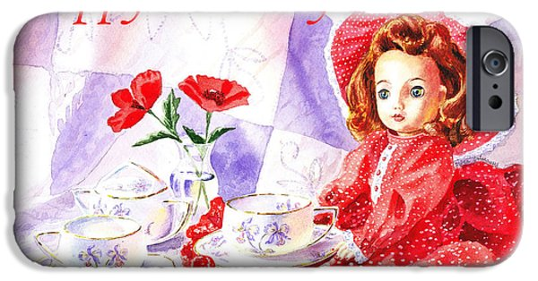 Tea Party iPhone Cases - Happy Birthday iPhone Case by Irina Sztukowski