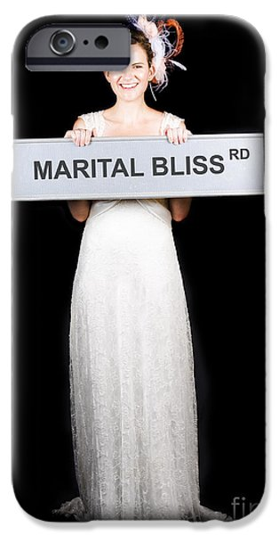 Anticipation Photographs iPhone Cases - Happy Bride On The Road To Marital Bliss iPhone Case by Ryan Jorgensen