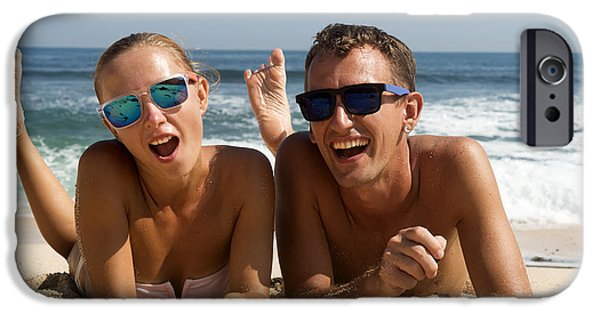 Women Together iPhone Cases - Happy Couple in Sunglasses iPhone Case by Nikita Buida