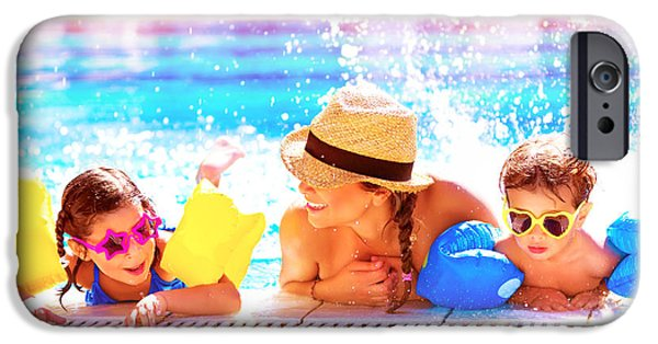 Women Together iPhone Cases - Happy family in aquapark iPhone Case by Anna Omelchenko