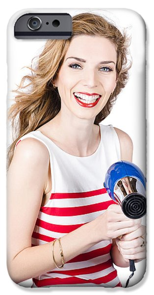 Electrical Equipment iPhone Cases - Happy female hairdresser holding hairdryer iPhone Case by Ryan Jorgensen