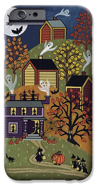 Haunted House Paintings iPhone Cases - Happy Halloween iPhone Case by Medana Gabbard