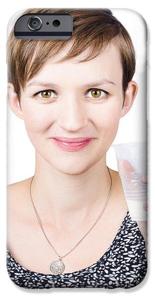Endorsement iPhone Cases - Happy healthy woman with fresh milk iPhone Case by Ryan Jorgensen