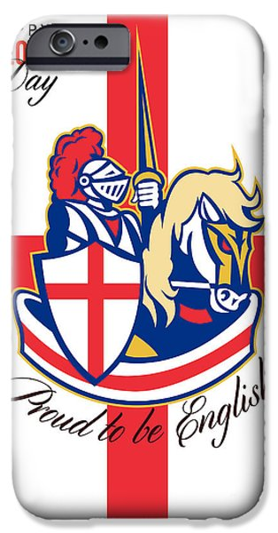 Happy St George Day Proud to Be English Retro Poster iPhone Case by Aloysius Patrimonio