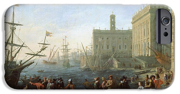 Sailboat Ocean iPhone Cases - Harbor Scene iPhone Case by Claude Lorrain