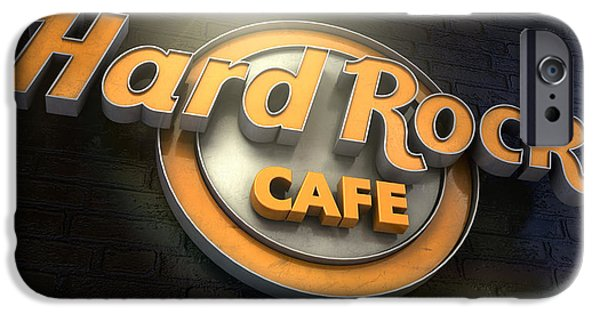 Hard iPhone Cases - Hard Rock Cafe Logo iPhone Case by Allan Swart