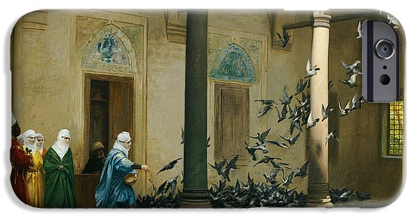 Feeding iPhone Cases - Harem Women Feeding Pigeons in a Courtyard iPhone Case by Jean Leon Gerome