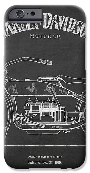 Harley Davidson Motorcycle Patent Drawing From 1919 iPhone Case by Aged Pixel