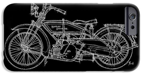 Transportation Pastels iPhone Cases - Harley Davidson WJ Sport 1921 iPhone Case by Pablo Franchi