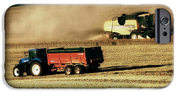 Combine Harvester iPhone Cases - Harvest Season in France iPhone Case by Mountain Dreams