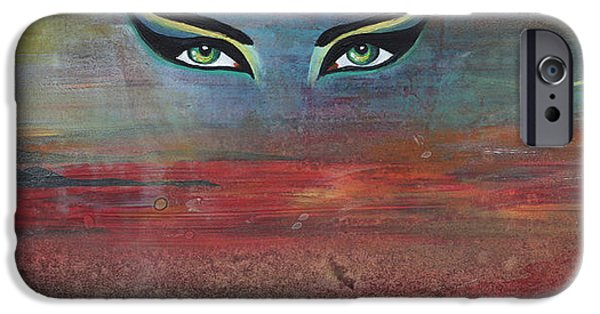 Hathor Paintings iPhone Cases - Hathor iPhone Case by Stacey Austin