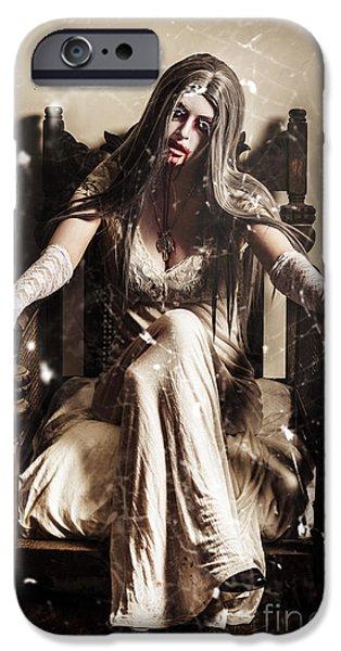 Night Angel iPhone Cases - Haunting horror scene with a strange vampire girl  iPhone Case by Ryan Jorgensen