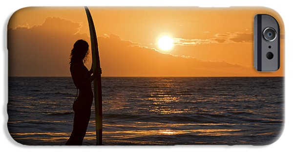 Monica Sweet iPhone Cases - Hawaii, Female Surfer On Beach Silhouetted Against Orange Sunset Over Ocean. iPhone Case by M Swiet Productions