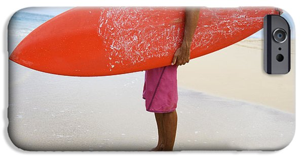 Monica Sweet iPhone Cases - Hawaii, Kauai, Man Holding Surfboard On Beach, View From Side. iPhone Case by M Swiet Productions