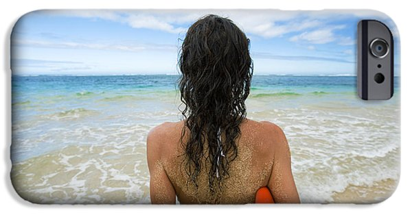 Monica Sweet iPhone Cases - Hawaii, Kauai, Woman Holding Surfboard On Beach, View From Behind. iPhone Case by M Swiet Productions