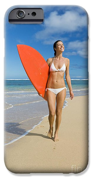 Monica Sweet iPhone Cases - Hawaii, Kauai, Woman Walking Along Beach With Beach With Surfboard. iPhone Case by M Swiet Productions