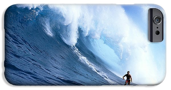Turbulent Skies iPhone Cases - Hawaii, Maui, Jaws, Sierra Emory Looks At Camera, In Front Of Large Wave iPhone Case by Erik Aeder