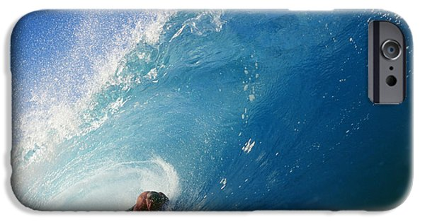 Adrenaline iPhone Cases - Hawaii, Oahu, North Shore, Banzai Pipeline, Pancho Sullivan Riding Wave iPhone Case by Vince Cavataio
