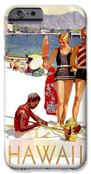 Fashion Design Art iPhone Cases - Hawaii Vintage Travel Poster iPhone Case by Jon Neidert