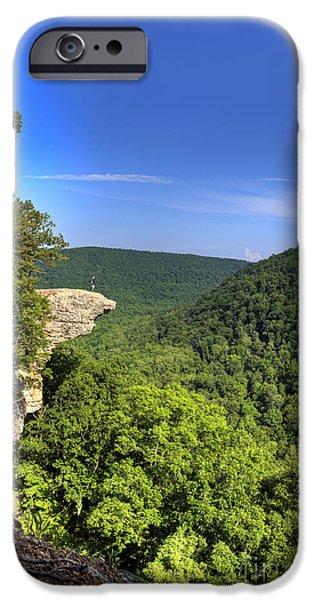 Arkansas iPhone Cases - Hawksbill Crag Hiker iPhone Case by Brandon Alms