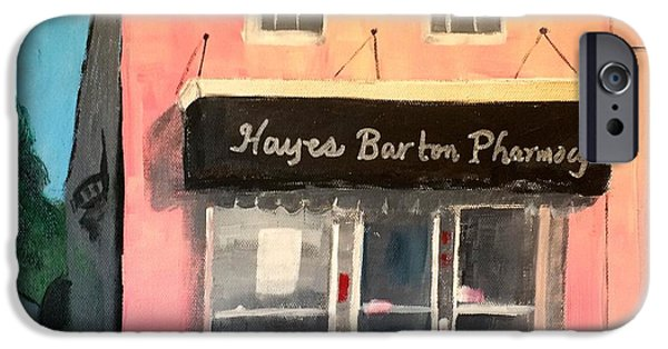 City Scape Pastels iPhone Cases - Hayes Barton Pharmacy iPhone Case by Kimberly Balentine