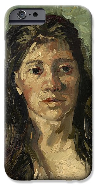 Prostitutes Paintings iPhone Cases - Head of a Prostitute iPhone Case by Vincent van Gogh