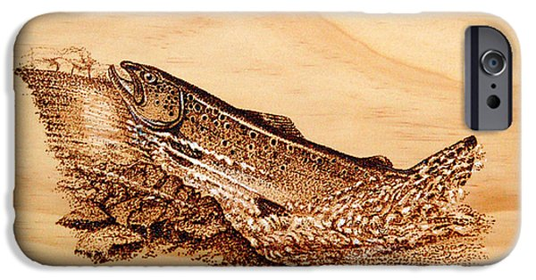Fish Pyrography iPhone Cases - Heading Home iPhone Case by Ron Haist