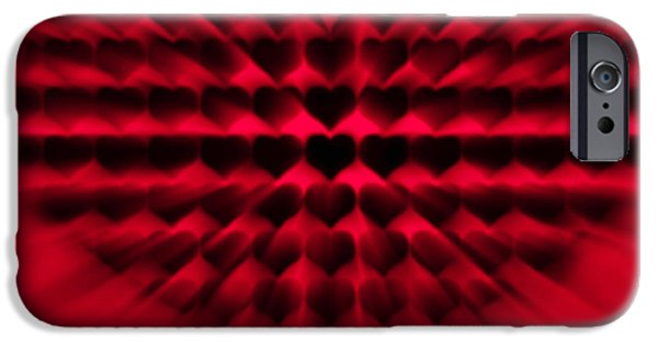 Abstract Digital Art iPhone Cases - Heart Rays iPhone Case by Wim Lanclus