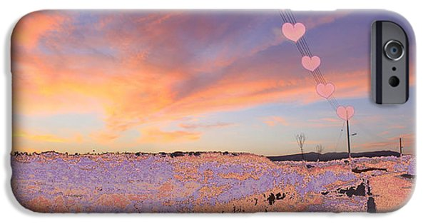 Planet Fantastic iPhone Cases - Hearts Sunset iPhone Case by Augusta Stylianou