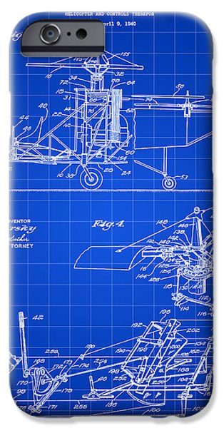 Helicopter iPhone Cases - Helicopter Patent 1940 - Blue iPhone Case by Stephen Younts