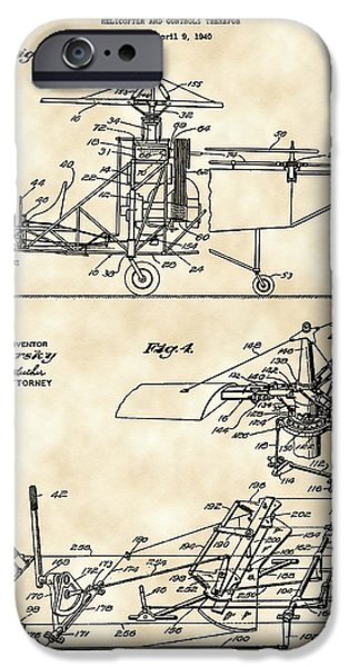 Parchment iPhone Cases - Helicopter Patent 1940 - Vintage iPhone Case by Stephen Younts