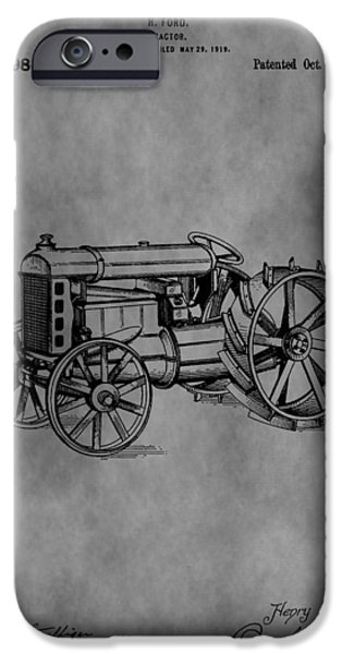 Farmer Drawings iPhone Cases - Henry Ford Tractor Patent iPhone Case by Dan Sproul