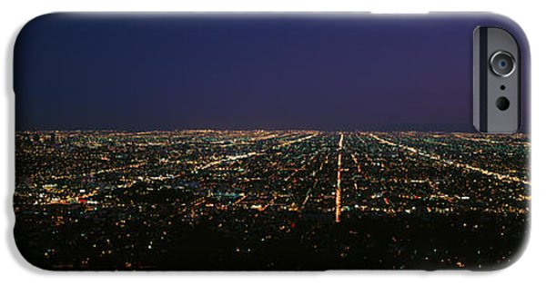 Built Structure iPhone Cases - High Angle View Of A City At Night iPhone Case by Panoramic Images