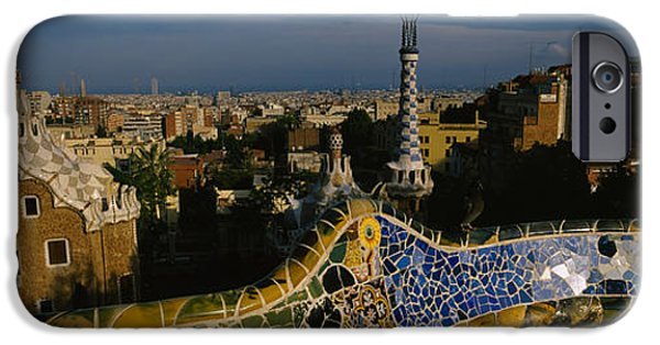 Mosaic iPhone Cases - High Angle View Of A City, Parc Guell iPhone Case by Panoramic Images