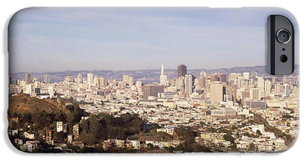 Built Structure iPhone Cases - High Angle View Of A City, San iPhone Case by Panoramic Images