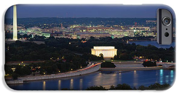 Capitol iPhone Cases - High Angle View Of A City, Washington iPhone Case by Panoramic Images