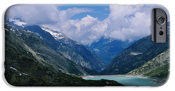 Mountain iPhone Cases - High Angle View Of A Lake Surrounded iPhone Case by Panoramic Images