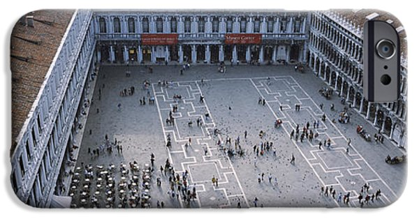 Piazza San Marco iPhone Cases - High Angle View Of A Town Square, St iPhone Case by Panoramic Images