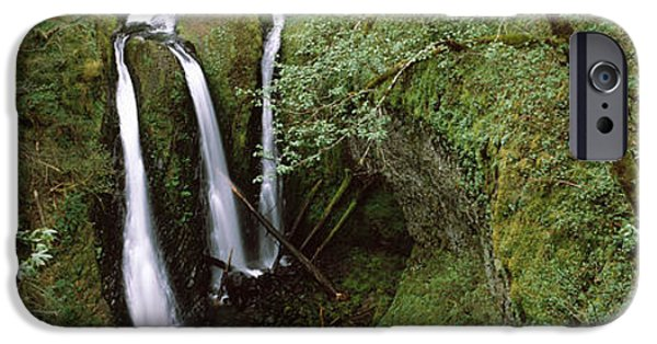 River View iPhone Cases - High Angle View Of A Waterfall iPhone Case by Panoramic Images