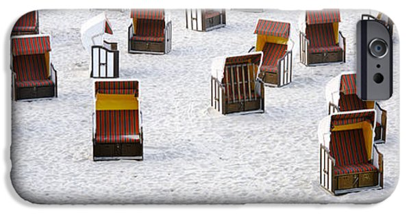 Disorder iPhone Cases - High Angle View Of Beach Baskets On The iPhone Case by Panoramic Images