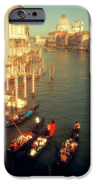 Mode Of Transport iPhone Cases - High Angle View Of Gondolas In A Canal iPhone Case by Panoramic Images