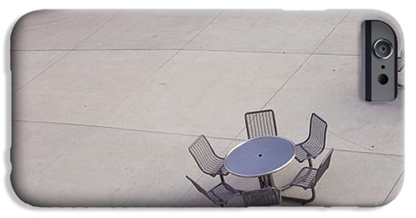 Patio Table And Chairs iPhone Cases - High Angle View Of Tables And Chairs iPhone Case by Panoramic Images